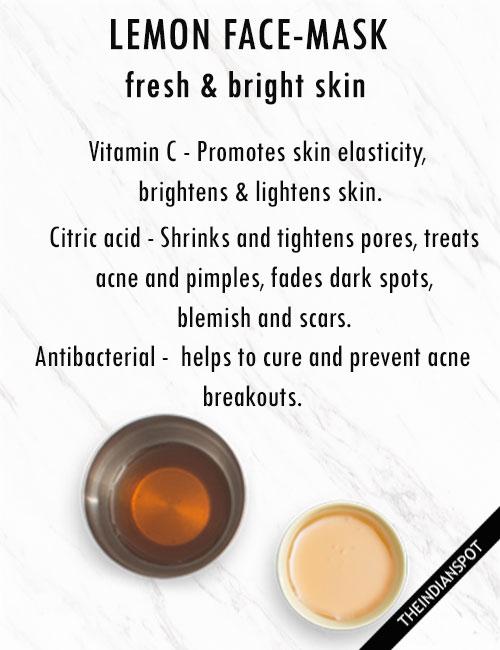 Lemon Face Masks for fresh and bright skin