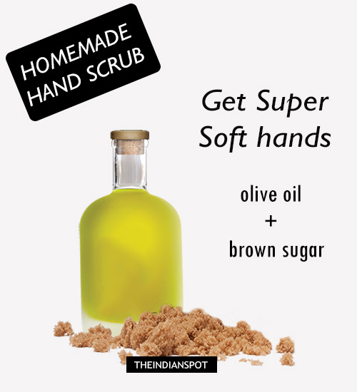Brown Sugar and Olive oil: Using homemade scrub