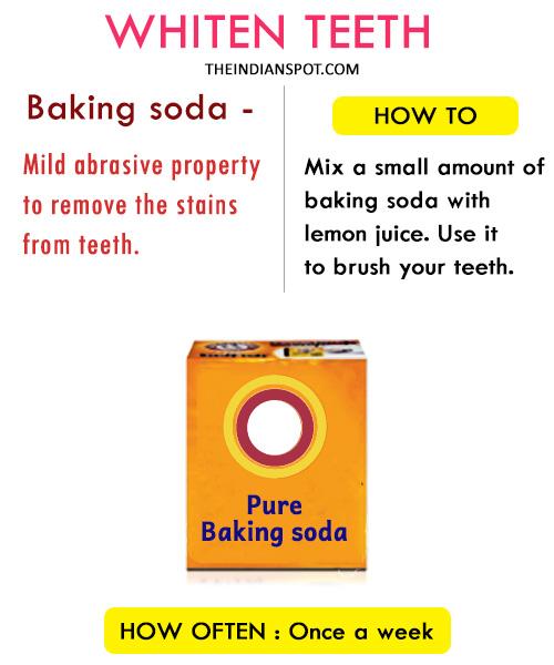 Whiten teeth with Baking Soda: