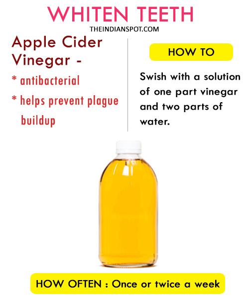 Whiten teeth with Apple cider Vinegar: