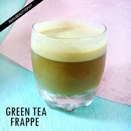 DIY HEALTHY GREEN TEA COCONUT FRAPPE