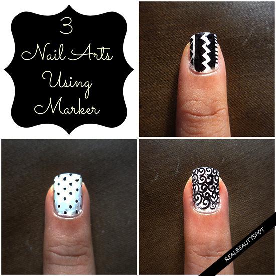 3 Nail Art Tutorials In One Using Sharpie Marker
