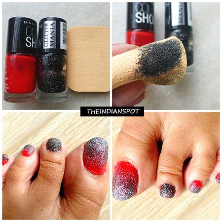 Diy Black Glitterati Toe Nail Art