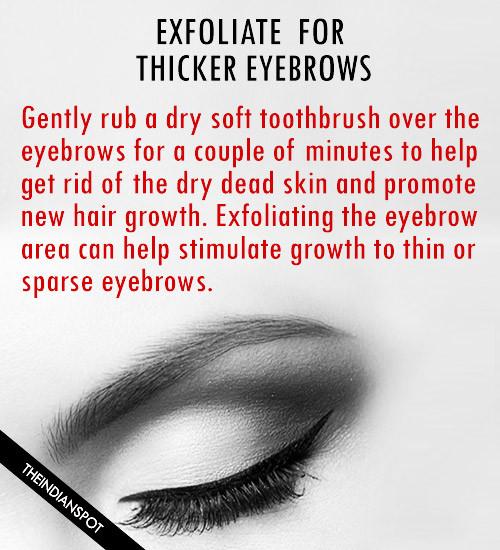 Exfoliate eyebrow -