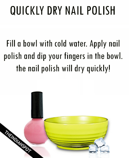 DRY NAIL POLISH WITH ICE WATER