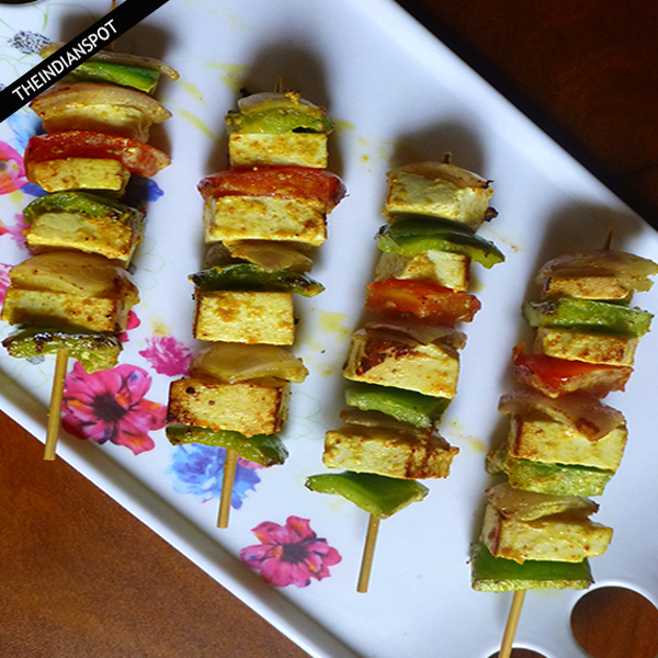 Easy paneer tikka recipe : Grilled chunky cottage cheese
