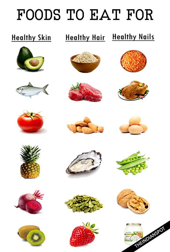 FOODS TO EAT FOR HEALTHY SKIN, HAIR AND NAILS