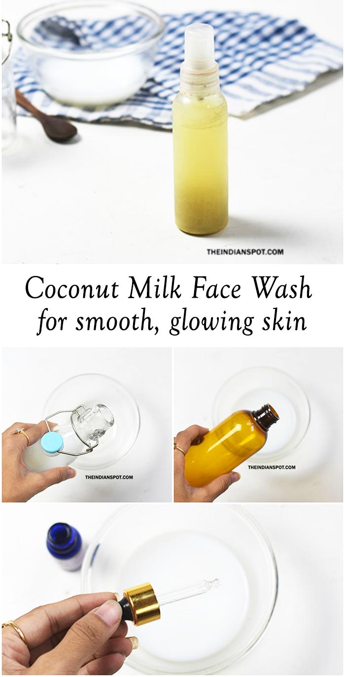 DIY Coconut Milk Face Wash for glowing skin