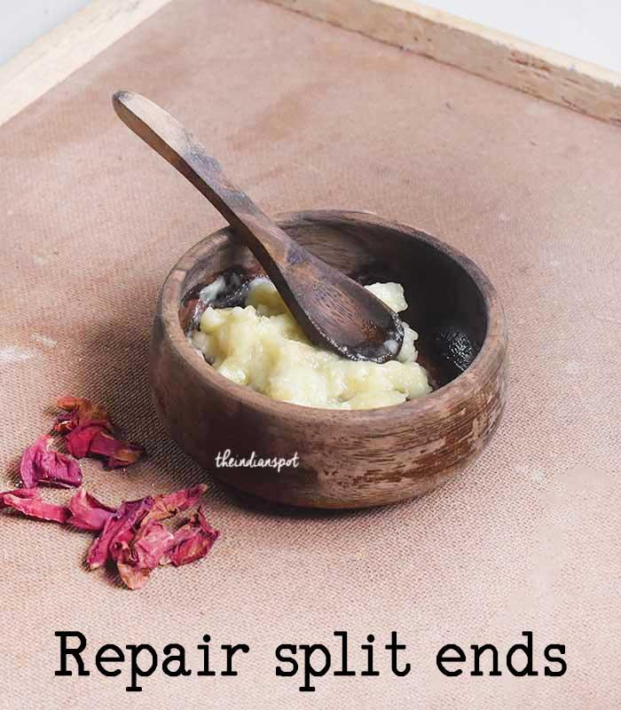 Repair split ends with Banana hair mask