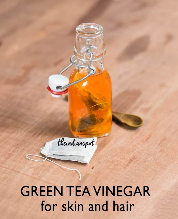 Green tea vinegar for skin and hair