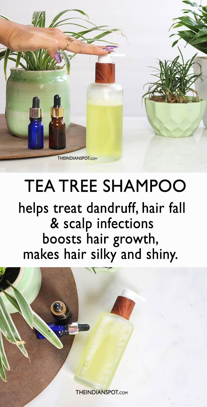 DIY Tea Tree Oil Dandruff and Hair Shine Shampoo